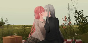 Rating: Safe Score: 66 Tags: 2girls chihuri405 flowers grass gray_hair kiss long_hair necklace original pink_hair shoujo_ai skirt sky yana zoya User: sadodere-chan