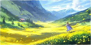 Rating: Safe Score: 44 Tags: braids clouds dress flowers landscape long_hair odaartworks original petals scenic sky twintails User: RyuZU