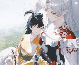 Rating: Safe Score: 92 Tags: armor black_hair bow cherry_blossoms cropped flowers grass inuyasha japanese_clothes katana kimono long_hair male petals pointed_ears ponytail rin_(inuyasha) sesshomaru sleeping sword tattoo waifu2x wanke weapon white_hair yellow_eyes User: otaku_emmy
