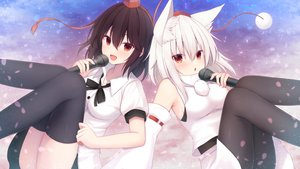Rating: Safe Score: 41 Tags: 2girls animal_ears brown_hair firepo inubashiri_momiji microphone red_eyes ribbons shameimaru_aya short_hair skirt thighhighs touhou white_hair wolfgirl User: Eleanor