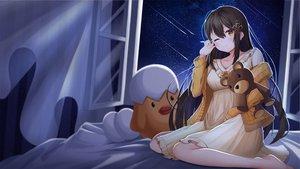 Rating: Safe Score: 46 Tags: barefoot bed brown_hair dress lancheu long_hair night original sky stars teddy_bear wink User: BattlequeenYume