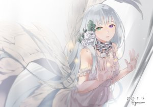 Rating: Safe Score: 67 Tags: aliasing bicolored_eyes chain dress gray_hair long_hair nello_(luminous_darkness) original signed wings User: BattlequeenYume