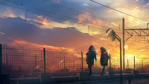 Rating: Safe Score: 58 Tags: 2girls clouds na_(sodium) original scarf scenic sky sunset User: FormX
