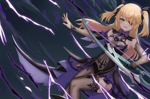 Rating: Safe Score: 65 Tags: blonde_hair bow_(weapon) eyepatch feathers fischl_(genshin_impact) garter_belt genshin_impact green_eyes kuwahara_taiki long_hair stockings sword twintails weapon User: Dreista