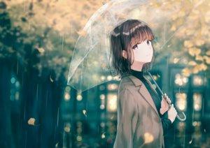 Rating: Safe Score: 88 Tags: black_hair cape hiten_goane_ryu leaves original purple_eyes rain short_hair tears umbrella water User: BattlequeenYume
