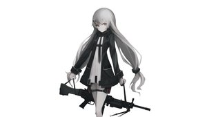 Rating: Safe Score: 124 Tags: anthropomorphism girls_frontline gray_hair gun gyup long_hair mg4_(girls_frontline) polychromatic scarf twintails weapon white User: Dummy