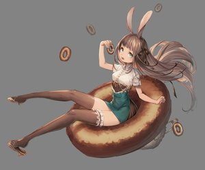 Rating: Safe Score: 39 Tags: animal_ears aqua_eyes brown_hair bunny_ears bunnygirl food gray long_hair original ribbons signed skirt thighhighs yu-ri zettai_ryouiki User: FormX