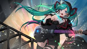 Rating: Safe Score: 34 Tags: aqua_hair asagon007 blue_eyes guitar hatsune_miku instrument leotard long_hair thighhighs twintails vocaloid User: Fepple