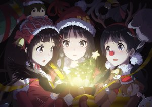 Rating: Safe Score: 71 Tags: akiyama_mio bell black_eyes black_hair blue_eyes blush bow brown_hair chibi chitanda_eru christmas crossover hat horns hyouka kitashirakawa_tamako k-on! long_hair ribbons short_hair tagme_(artist) tamako_market tree User: BattlequeenYume