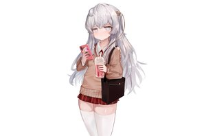 Rating: Safe Score: 52 Tags: anthropomorphism blue_eyes dokomon drink girls_frontline gray_hair long_hair phone ribeyrolles_1918_(girls_frontline) school_uniform skirt thighhighs tie white zettai_ryouiki User: otaku_emmy