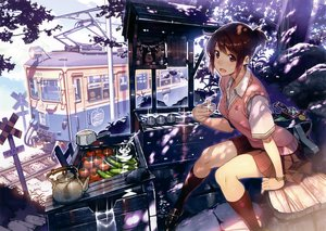 Rating: Safe Score: 110 Tags: brown_hair camera drink food kneehighs original scan seifuku shrine train tree vania600 User: mattiasc02