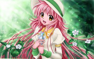 Rating: Safe Score: 30 Tags: blush brown_eyes clamp flowers hanato_kobato hat kobato long_hair pink_hair yellow_eyes User: mikucchi