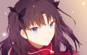 Rating: Safe Score: 51 Tags: black_hair blue_eyes close fate/stay_night heart_(z603458jj6) long_hair necklace ribbons tohsaka_rin twintails User: Flandre93