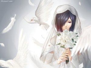 Rating: Safe Score: 77 Tags: animal bird feathers flowers kirishima_touka mazarinee purple_eyes purple_hair rose short_hair tokyo_ghoul wedding_attire User: Maboroshi