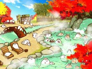 Rating: Safe Score: 16 Tags: animal autumn cat_smile drink gray_(artist) group onsen original sake towel tree umbrella water waterfall User: otaku_emmy