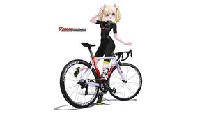 Rating: Safe Score: 15 Tags: bicycle bike_shorts blonde_hair hitomi_kazuya ribbons shorts skintight twintails watermark white User: gnarf1975