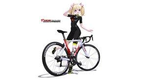 Rating: Safe Score: 33 Tags: bicycle bike_shorts blonde_hair hitomi_kazuya ribbons shorts skintight twintails watermark white User: gnarf1975