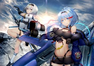 Rating: Safe Score: 30 Tags: 2girls a6m2b_type_0_model_21_(ash_arms) anthropomorphism aqua_eyes aqua_hair ash_arms breasts cleavage douglas_a-1_skyraider_(ash_arms) gloves gray_hair green_eyes katana kyoeiki long_hair ponytail short_hair shorts sword weapon User: Nepcoheart
