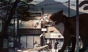 Rating: Safe Score: 61 Tags: 2girls animal bird black_hair building cat kukka multiple_tails original scenic seifuku tail tree User: FormX
