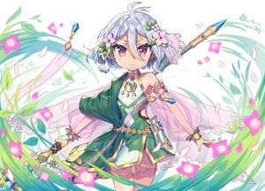 Rating: Safe Score: 29 Tags: dress flowers gray_hair kokkoro loli magic pointed_ears princess_connect! red_eyes short_hair spear wagashi928 weapon User: BattlequeenYume