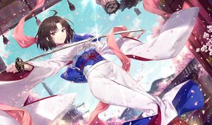 Rating: Safe Score: 35 Tags: brown_hair building cherry_blossoms fate/grand_order fate_(series) flowers gabiran japanese_clothes kara_no_kyoukai katana kimono petals purple_eyes ryougi_shiki short_hair signed sky sword weapon User: BattlequeenYume