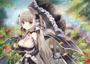 Rating: Safe Score: 94 Tags: anthropomorphism azur_lane breasts cleavage flowers formidable_(azur_lane) goth-loli gray_hair lolita_fashion long_hair rainbow red_eyes rose seozo skirt_lift twintails umbrella watermark User: otaku_emmy