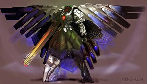 Rating: Safe Score: 88 Tags: arugeri mecha reiuji_utsuho touhou weapon wings User: 02