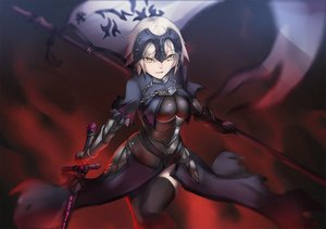Rating: Safe Score: 97 Tags: armor blonde_hair breasts chain dress elbow_gloves fate/apocrypha fate/grand_order fate_(series) gloves jeanne_d'arc_alter jeanne_d'arc_(fate) liunek short_hair sword thighhighs weapon yellow_eyes User: RyuZU