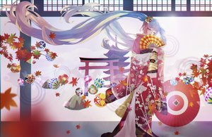 Rating: Safe Score: 49 Tags: aikakuv autumn fan hatsune_miku japanese_clothes kimono leaves long_hair torii twintails vocaloid User: FormX