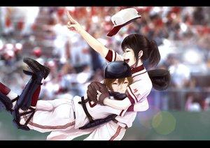 Rating: Safe Score: 100 Tags: 2girls baseball doctor_k_shoujo hat hug infinote ponytail sport uniform User: FormX