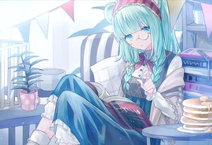 Rating: Safe Score: 71 Tags: aqua_eyes aqua_hair arknights book dress flowers food glasses istina_(arknights) long_hair seia_(tikxxx) twintails User: Nepcoheart