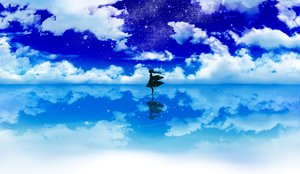 Rating: Safe Score: 96 Tags: clouds hakurei_reimu haruki_5050 japanese_clothes miko reflection silhouette sky stars touhou User: FormX