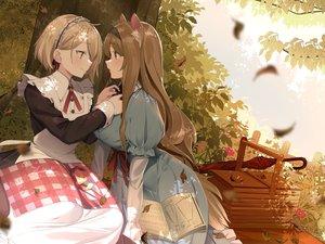 Rating: Safe Score: 52 Tags: 2girls aliasing animal_ears autumn dress junp long_hair maid original short_hair shoujo_ai umbrella User: Dreista