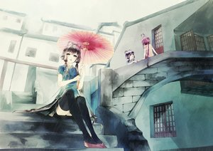 Rating: Safe Score: 93 Tags: anna_(anna1997) black_hair braids chinese_clothes green_eyes long_hair luo_tianyi purple_hair rain red_hair stairs thighhighs twintails umbrella vocaloid vocaloid_china water yuezheng_ling User: minabiStrikesAgain