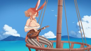 Rating: Safe Score: 29 Tags: animal_ears breasts brown_hair bunny_ears bunnygirl cleavage clouds final_fantasy final_fantasy_xiv instrument kuroonehalf original sky viera water watermark User: otaku_emmy
