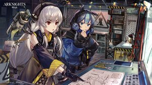 Rating: Safe Score: 45 Tags: 2girls arknights blue_eyes blue_hair csyday glaucus_(arknights) gloves gray_hair hoodie logo long_hair ponytail red_eyes weedy_(arknights) User: Nepcoheart