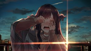 Rating: Safe Score: 46 Tags: blush brown_hair building city close clouds crying horns long_hair original sinomi sky sunset tears User: FormX