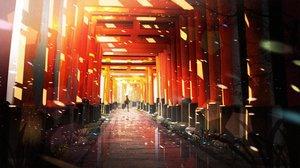 Rating: Safe Score: 79 Tags: original petals reflection scenic silhouette someya_mai torii User: RyuZU