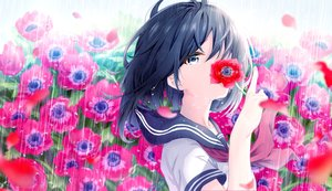 Rating: Safe Score: 43 Tags: aqua_eyes black_hair close flowers haru_(re_ilust) original rain seifuku short_hair tears water User: BattlequeenYume