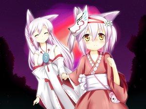 Rating: Safe Score: 80 Tags: 2girls animal_ears haku_(irotoridori_no_sekai) irotoridori_no_hikari irotoridori_no_sekai loli night ren_(irotoridori_no_sekai) stars white_hair User: Wiresetc