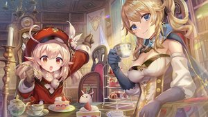 Rating: Safe Score: 87 Tags: 2girls blonde_hair blue_eyes bow breasts cake cape cleavage cross drink elbow_gloves food fruit genshin_impact gloves hat jean_gunnhildr klee_(genshin_impact) loli pointed_ears ponytail red_eyes short_hair strawberry torino_akua twintails User: otaku_emmy