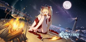 Rating: Safe Score: 36 Tags: 2girls aliasing bikini blonde_hair clouble fire food lighthouse logo long_hair moon night red:_pride_of_eden sky stars swimsuit tagme_(character) twintails water User: BattlequeenYume