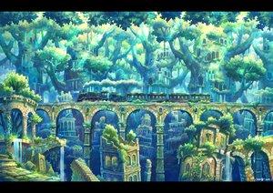 Rating: Safe Score: 32 Tags: kemi_neko original ruins scenic signed train tree User: FormX