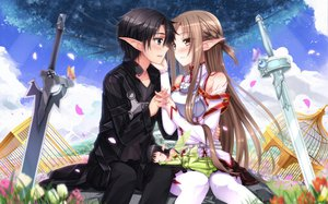 Rating: Safe Score: 177 Tags: flowers kirigaya_kazuto petals pointed_ears sword sword_art_online swordsouls weapon yui_(sword_art_online) yuuki_asuna User: opai