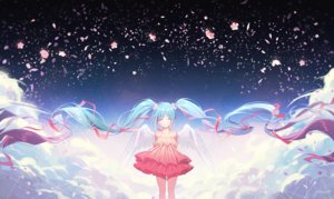 Rating: Safe Score: 53 Tags: aqua_hair dress flowers gomzi hatsune_miku long_hair petals ribbons signed twintails vocaloid wings User: RyuZU