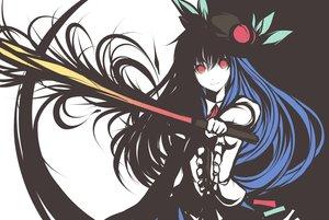 Rating: Safe Score: 85 Tags: blue_hair faefaea food fruit hat hinanawi_tenshi leaves long_hair polychromatic red_eyes sword touhou weapon User: RyuZU