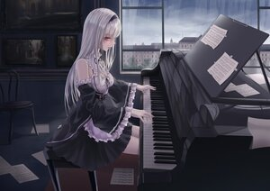 Rating: Safe Score: 81 Tags: apron breasts building city cleavage clouds headband instrument long_hair maid original paper piano rain red_eyes sky turbulence water white_hair User: BattlequeenYume