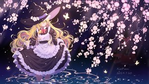 Rating: Safe Score: 47 Tags: 2girls apron blonde_hair bow braids butterfly cherry_blossoms dress flowers hakurei_reimu hat japanese_clothes kirisame_marisa long_hair miko skirt_lift touhou water watermark witch_hat xia_pian yellow_eyes User: Dreista