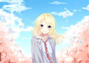 Rating: Safe Score: 30 Tags: blonde_hair blue_eyes blush clouds long_hair miyazono_kaori miyo_(user_zdsp7735) petals school_uniform shigatsu_wa_kimi_no_uso sky tie User: RyuZU
