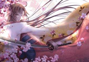 Rating: Safe Score: 44 Tags: brown_eyes brown_hair cherry_blossoms fate/grand_order fate_(series) flowers japanese_clothes kara_no_kyoukai katana kimono long_hair ryougi_shiki sword tagme_(artist) weapon User: BattlequeenYume